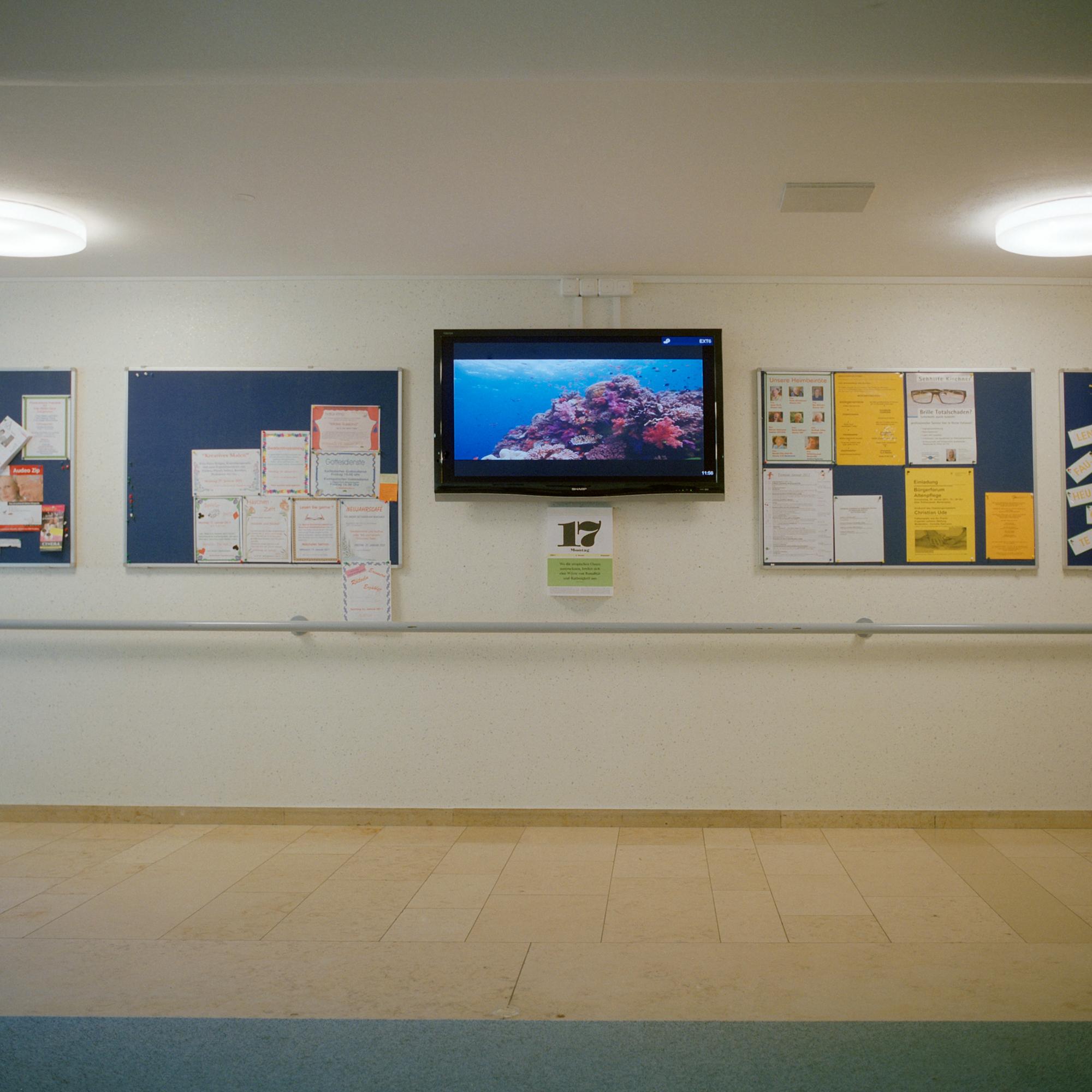 Fritz Kistler Haus, Pasing. Tierfilme werden in der Eingangshalle der Einrichtung Fritz- Kistler in der Schmaedelstrasse 29, Muenchen gezeigt, 17. Januar 2011. Fotograf Evi Lemberger