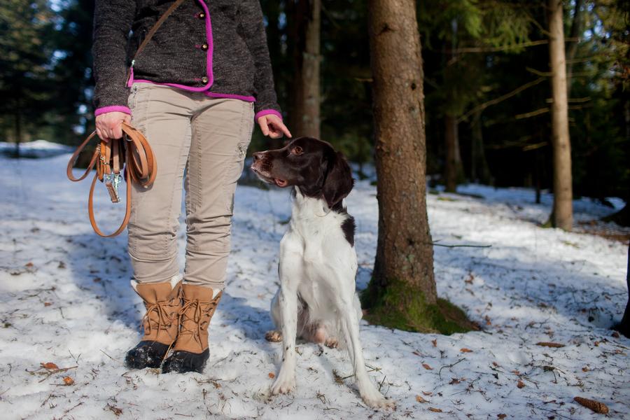 Detailaufnahme von Karoline Hirsch mit Jagdhund Quirin. Thomas Stern und Karoline Hirsch bei einem Spaziergang.